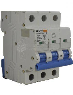 Breaker 3X16A, Voltaje Nominal 415V 50/60Hz, Capacidad de Ruptura 10KA, Tipo de Curva C, IEC / EN60898-1, IP 20. Montaje en Riel Din.
