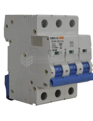 Breaker 3X20A, Voltaje Nominal 415V 50/60Hz, Capacidad de Ruptura 10KA, Tipo de Curva C, IEC / EN60898-1, IP 20. Montaje en Riel Din.