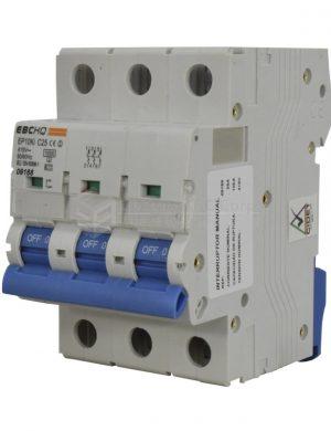 Breaker 3X25A, Voltaje Nominal 415V 50/60Hz, Capacidad de Ruptura 10KA, Tipo de Curva C, IEC / EN60898-1, IP 20. Montaje en Riel Din.