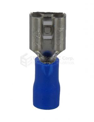 Terminal Hembra Aislamiento Medio, Color Azul, Seccion del Conductor 1,5 - 2,5 mm2 / 14 - 16 AWG. (PRECIO BOLSA DE 100 UNIDADES)
