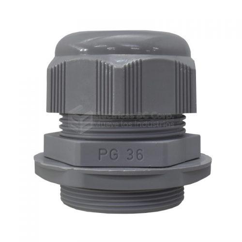 PRENSACABLE PLASTICO PG-36, IP68 POLIAMIDA. COLOR:GRIS. ORIGEN: TURQUIA